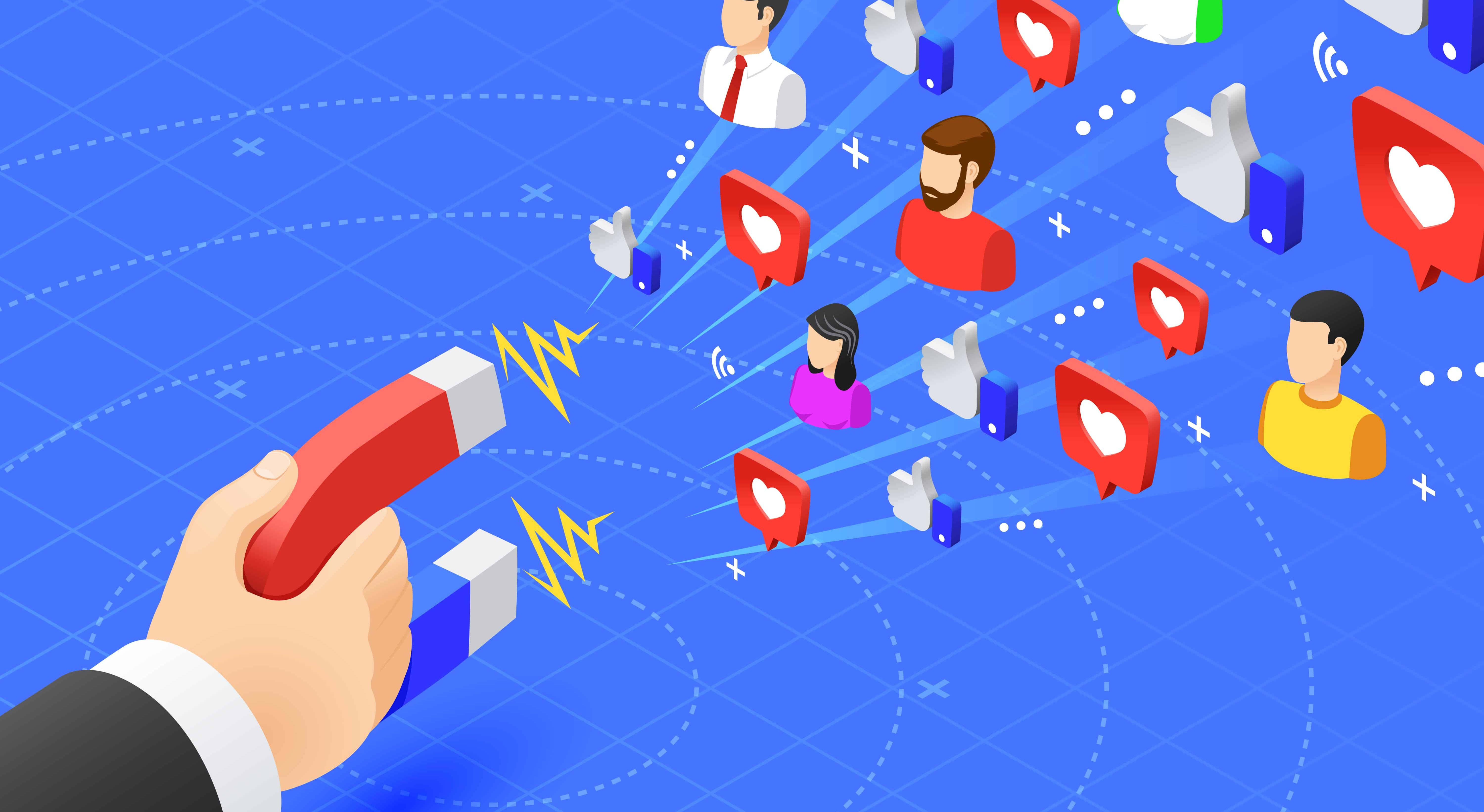 Marketing magnet engaging followers. Social media likes and follows magnetism. Influencer advertise strategy vector illustration